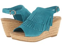 Minnetonka Ashley Turquoise Suede Women's Wedge Shoes Blue