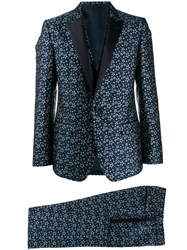 Dolce And Gabbana Star Jacquard Suit Blue