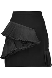 Opening Ceremony Stone Plisse Organza Trimmed Crepe Mini Skirt Black