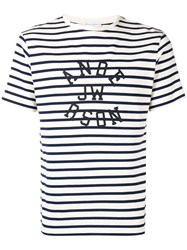 J.W.Anderson Jw Anderson Logo Striped T Shirt White
