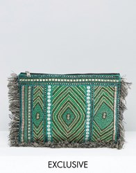 Reclaimed Vintage Embroidered Clutch Bag With Sequin Detail Multi