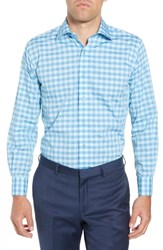 Lorenzo Uomo Trim Fit Check Dress Shirt Turquoise