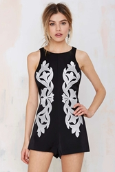 Nasty Gal Keepsake Morning Shadow Embroidered Romper