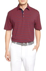 Bobby Jones Men's Liquid Cotton Feed Stripe Polo Summer Navy
