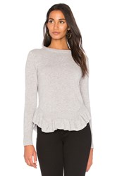 Nude Round Neck Ruffle Hem Sweater Gray