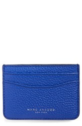 Women's Marc Jacobs 'Gotham' Leather Card Case Blue Cobalt Blue