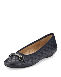 Neiman Marcus Suzy Quilted Nappa Ballet Flat Navy
