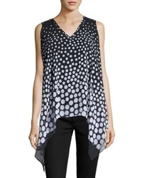 Neiman Marcus Double Layer Polka Dot Sleeveless Blouse Black White