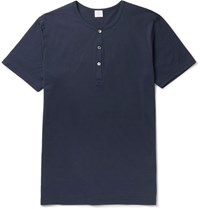 Sunspel Slim Fit Cotton Jersey Henley T Shirt Storm Blue