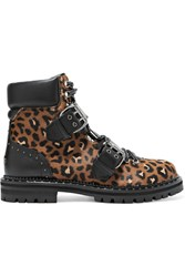 Jimmy Choo Breeze Studded Leather Trimmed Leopard Print Calf Hair Ankle Boots Leopard Print