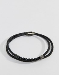 Ted Baker Lizaa Bead And Leather Double Wrap Bracelet In Black