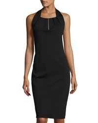 Max Studio Sleeveless Pleated Neck Sheath Dress Black