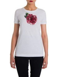Dolce And Gabbana Sequin Embellished Cotton Tee White