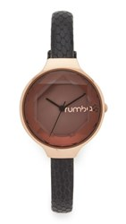 Rumbatime Orchard Gem Exotic Leather Black Watch Rose Gold Black