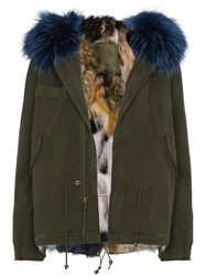 Mr And Mrs Italy Mini Patchwork Fur Lined Parka Fox Fur Cotton Polyester Polypropylene Green