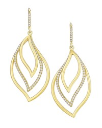 Carelle Brooke Leaf 18K Gold And Diamond Trio Drop Earrings