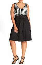 City Chic Plus Size Women's Ahoy Sailor Belted Fit And Flare Dress Black Stripe