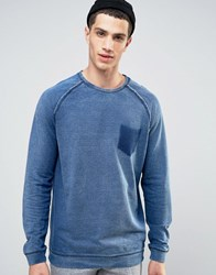 Solid Sweatshirt In Washed Denim Look Blue Navy