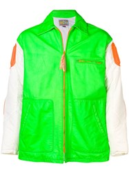 Walter Van Beirendonck Vintage Block Colour Leather Jacket Green