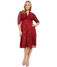 Kiyonna Mademoiselle Lace Dress Pinot Noir Women's Dress Burgundy