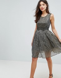 Amy Lynn Metallic Skater Dress Gold Cream