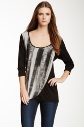 Vanilla Sugar Belinda Printed Overlay Top Black