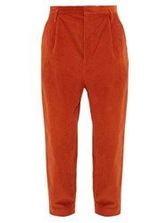 Raey Exaggerated Tapered Leg Corduroy Trousers Dark Orange