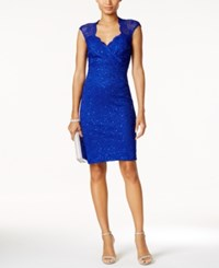 Connected Lace Sweetheart Sheath Dress Cobalt Blue