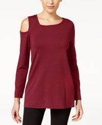 Alfani Asymmetrical Cold Shoulder Sweater Created For Macy's Malbec