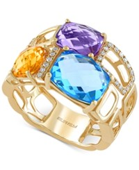 Effy Collection Mosaic By Effy Multi Stone 6 7 8 Ct. T.W And Diamond 1 10 Ct. T.W. Mosaic Ring In 14K Gold