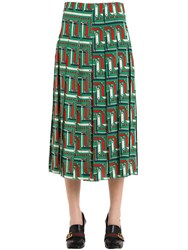 Gucci Chains Printed Pleated Silk Cady Skirt