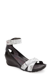 Wolky Women's Do Wedge Sandal White Black Leather