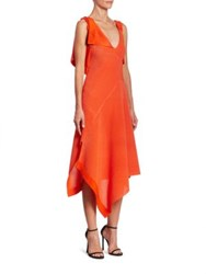 Victoria Beckham Knit Asymmetric Dress Bright Orange