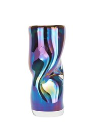 Tom Dixon Warp Iridescent Glass Vase Multi Blue