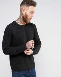 Asos Jumper With Cable Knit Sleeves In Wool Mix Black Nep