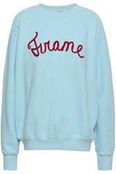 Frame Embroidered French Cotton Terry Sweatshirt Sky Blue