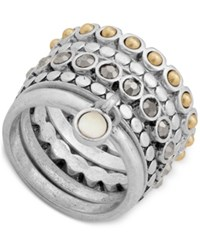 Lucky Brand Two Tone Multi Row Stack Look Ring Silver Gold