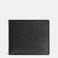 Coach Compact Id Wallet In Crossgrain Leather Black