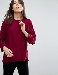 Nytt Long Sleeve High Neck Top Red