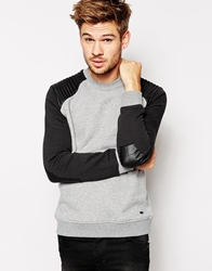 Esprit Sweat Shirt With Faux Leather Patches Grey070