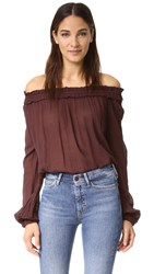 Raquel Allegra Shirred Collar Blouse Bordeaux