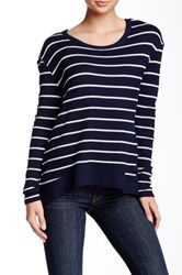 Sweet Romeo Striped Thermal Pullover Blue