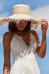 Urban Outfitters Playa Fringed Brim Floppy Hat Beige