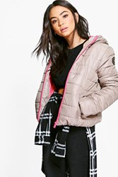 Boohoo Quilted Jacket With Contrast Zipper Stone