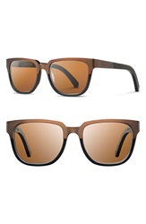 Shwood 'Prescott' 52Mm Polarized Titanium And Wood Sunglasses Bronze Titanium Brown Polar