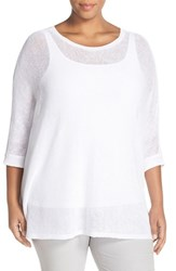 Plus Size Women's Eileen Fisher Organic Linen Mesh Knit Bateau Neck Top White