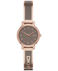 Dkny Women's Soho Gray Enamel And Rose Gold Tone Stainless Steel Half Bangle Bracelet Watch 24Mm Ny2359