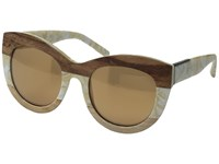 3.1 Phillip Lim Pl154c3sun Cream Pearl Wood Bronze Mirror Fashion Sunglasses Brown