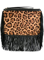 Pierre Hardy Leopard Print Clutch Brown