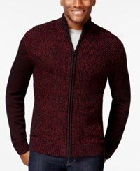 Alfani Black Big And Tall Marled Full Zip Mock Neck Sweater Only At Macy's Crimson Red